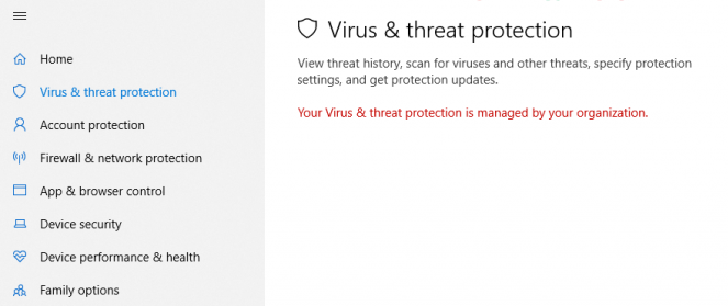 Cách sửa lỗi Your virus & threat protection is managed by your organization trên Win10