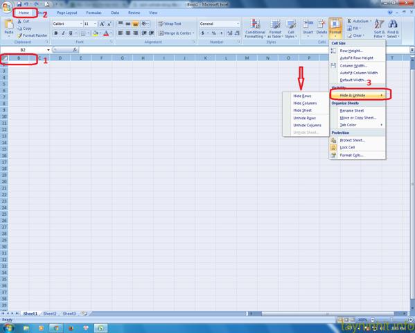 Cách unhide dòng, cột đầu tiên trong Excel